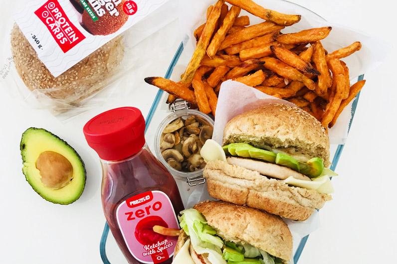 receta fitness hamburguesa con chips boniato