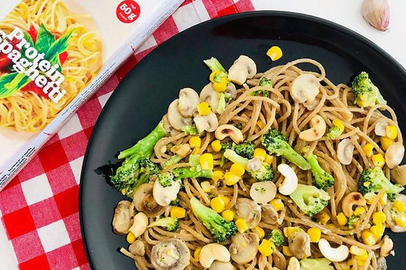 receta pasta espagueti proteico