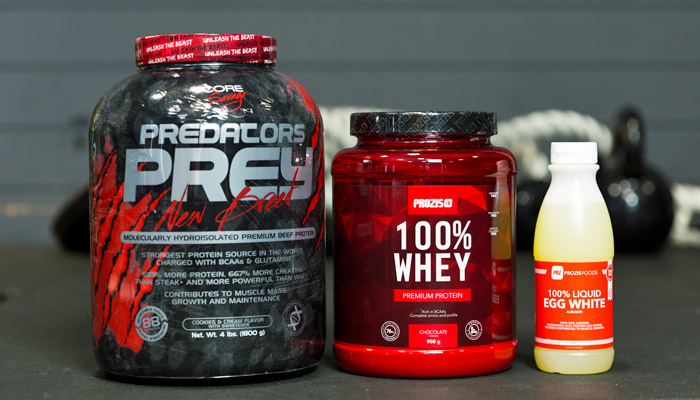 Beef protein, whey protein and egg protein Prozis