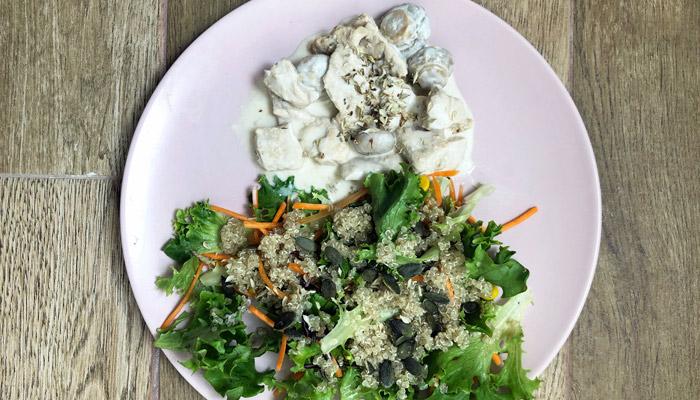 Receitas saudáveis para emagrecer: strogonoff de peru com salada